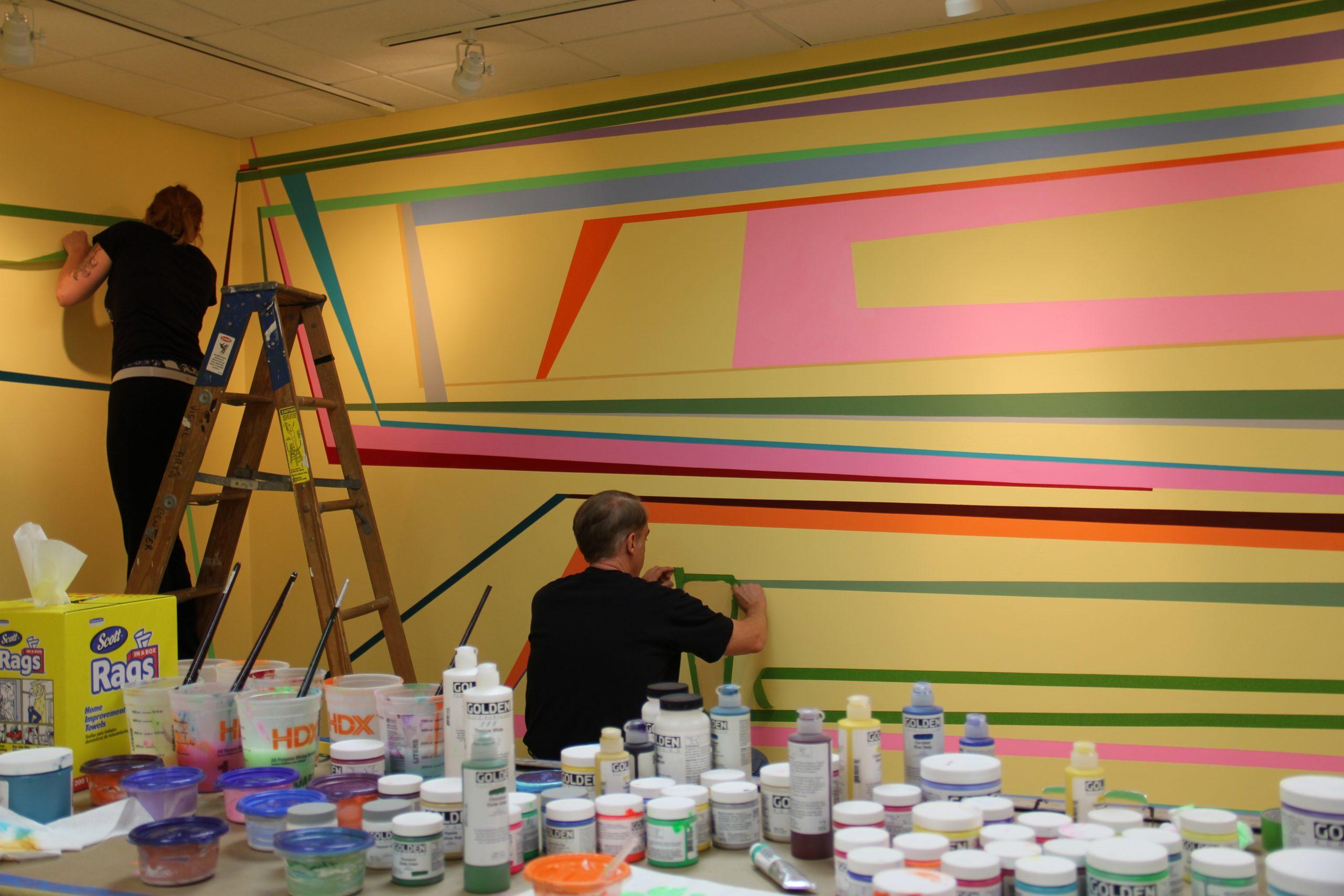 "Gary Petersen installing ""Tilting Points"""