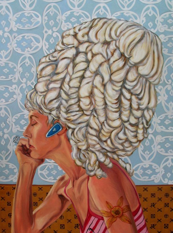 Painting of Lady with Blue Tooth by Lisa Ficarelli-Halpern