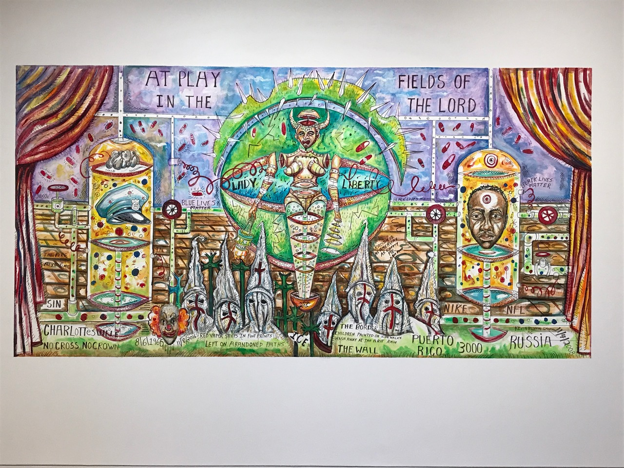 """image of installation piece in Kevin Blythe Sampson's exhibition """"Black and Blue"""""""