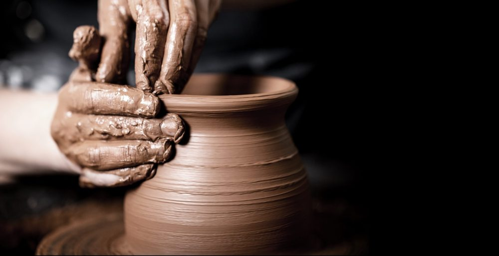 Student making pottery